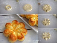 PEYNİRLİ ÇİÇEK POĞAÇA Note to self - not sure what this says - but the idea in the pic looks really easy. could use for savory or sweet. (herbed potatoes/cheese or sweetened cream cheese/fruit combos) ♥ Pastry Recipes, Bread Recipes, Cooking Recipes, Cooking Cake, Easy Cooking, Bread Shaping, Cheese Fruit, Cheese Bread, Good Food