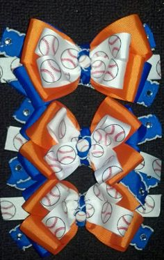 Bows for my girls for Jr's T-Ball Team. *Gators*