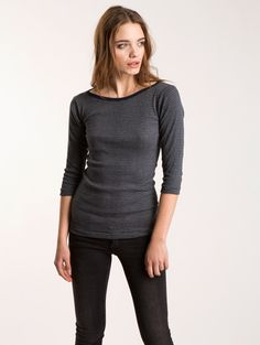 TOGGERY Brand Boatneck 3/4 Length Sleeve Tee in Fall Stripes! We mixed contemporary stripes with this classic silhouette.  3/4 length sleeves, boatneck, Made in the USA.  #Stripes