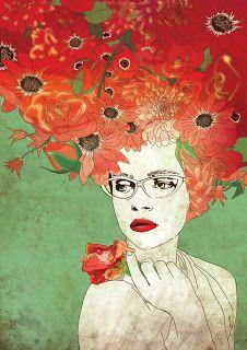 Flowers In Hair Painting Colour 19 Ideas Art And Illustration, Art Amour, L'art Du Portrait, Portraits, Ouvrages D'art, Arte Pop, Art Graphique, Art Design, Love Art