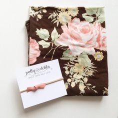 Baby girl swaddle blanket and bow headband set. Brown with coral and pink vintage floral with matching bow headband. Baby Shower Food For Girl, Baby Registry Items, Baby Nursery Diy, Baby Boy Cakes, Baby Boy Photography, Baby Girl Pictures, Baby Girl Birthday, Boy Decor, Baby Girl Headbands