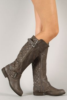 Bamboo Montage-87 Round Toe Quilted Riding Knee High Boot