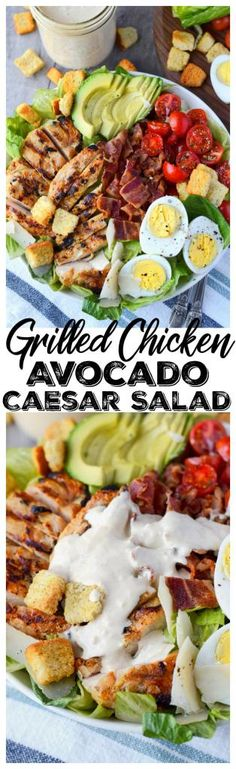 Grilled Chicken Avocado Caesar Salad Recipe is loaded with  grilled chicken, tomatoes, crispy bacon, avocados and hard boiled eggs on a bed of crisp romaine lettuce. Topped with a homemade creamy Caesar dressing and of course crunchy croutons and Parmesan cheese. #salad #caesarsalad #chickencaesarsalad