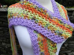 Beautiful Lightweight Crochet Ribbon Scarf by Sewstacy on Etsy