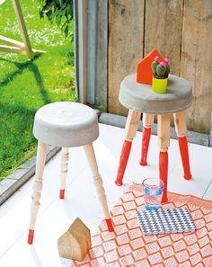 Krukje van beton - Stool of concrete Kijk op www.101woonideeen.nl #tutorial #howto #diy #101woonideeen #krukje #beton #stool #concrete
