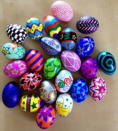 Blown eggs for my Easter Tree! I draw them with Sharpies : )