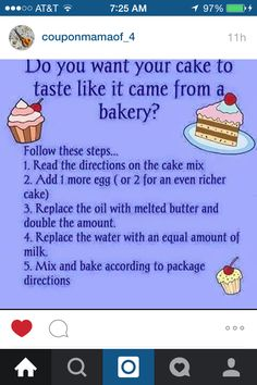 Do you want your cake to taste like it came from a bakery? - I tried this and my cake turned out awesome! My cake was rich and moist! Baking Tips, Baking Recipes, Dessert Recipes, Baking Hacks, Baking Secrets, Nake Cake, Do It Yourself Food, Rich Cake, Delicious Desserts