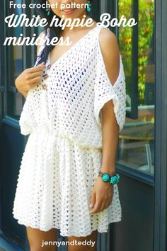 white hippie boho mini dress free crochet pattern beginner friendly, quick and easy with cotton yarn, : white hippie boho mini dress free crochet pattern beginner friendly, quick and easy with cotton yarn, Crochet Summer Dresses, Summer Dress Patterns, Crochet Skirts, White Boho Dress, Boho Mini Dress, Cropped Tops, Hippie Boho, Ethnic Jewelry, Bohemian Jewelry