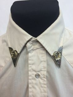 Rockmount square dance removable, screw back western collar tips