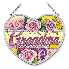 Amia 7323 Grandma Floral Hand-Painted Glass Suncatcher, 5-Inch by 4-1/2-Inch by Amia. $12.00. Handpainted glass. Includes chain. Comes boxed, makes for a great gift. Amia Glass is a top selling line of handpainted glass decor. Known for tying in rich colors and excellent designs, Amia has a full line of handpainted glass pieces to satisfy your decor needs. Items in the line range from suncatchers, window decor panels, vases, votives and much more.