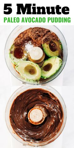 Best creamiest chocolate pudding made with avocados! A healthy paleo dessert made in five minutes. This dairy free chocolate pudding tastes better than the real deal and is made with only a handful of healthy ingredients! Paleo for beginners. Paleo diet r Avocado Dessert, Paleo Dessert, Appetizer Dessert, Dessert Recipes, Paleo Frosting, Chocolate Frosting Recipes, Paleo Chocolate, Chocolate Avacado Pudding, Healthy Chocolate Cupcakes