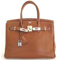 Hermès Gold Togo Leather 30cm Birkin Bag with Palladium Hardware -... ❤ liked on Polyvore featuring bags, handbags, purses, borse, hermes purse, leather handbags, brown purse, brown leather handbags and genuine leather handbags