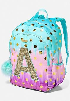 Justice is your one-stop-shop for on-trend styles in tween girls clothing & accessories. Shop our Ombre Foil Dot Initial Backpack. Cute Mini Backpacks, Girl Backpacks, School Backpacks, Justice Backpacks, Justice Bags, Unique Purses, Cute Purses, Justice Accessories, Mode Kawaii