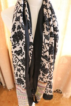 Morpheus Boutique  - Black White Vintage Style Pattern Cotton Designer Shawl Long Scarf Wrap