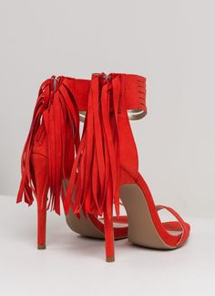 Strip Search Strappy Fringed Heels TANGERINE
