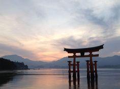 Miyajima island floating Torii gate in the water Japan