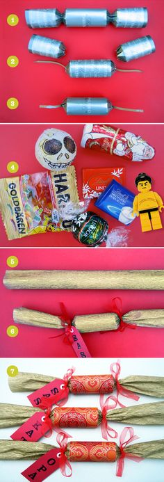 Pimp my cracker! DIY Christmas crackers tutorial, using re-purposed inexpensive store-bought crackers. Diy Christmas Crackers, Christmas Crafts, Christmas Ideas, Christmas 2017, Diy Crafts For Boyfriend, Diy Crafts For Kids, Diy Dog Crate, Diy Baby Headbands, Diy Wedding Cake