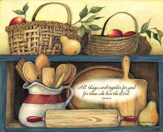 Susan Winget / Bountiful Blessings / September 2015 Kitchen Art, Kitchen Pantry, Bread Boxes, Pintura Country, Food Themes, Decoupage Paper, Canvas Wall Art, Wall Art Prints, Canvas Prints