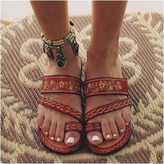 Leather Hand Painted Mexican Sandals  FREE SHIPPING $40