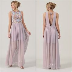 Frock and Frill Bobbie Lilac Floral Embellished Maxi Long Dress Sheer 10 12 14 Prom Dresses, Summer Dresses, Formal Dresses, Wedding Dresses, Sheer Dress, Boho Dress, Frock And Frill, Lilac, Embroidered Dresses