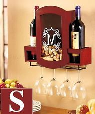S MONOGRAM WINE GLASS BOTTLE RACK CORK HOLDER BAR KITCHEN DINING ROOM HOME DECOR