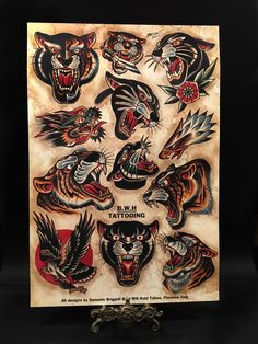 Online shop for Samuele Briganti unique designs, limited edition prints, t-shirts, sketchbooks and original watercolors. Traditional Tattoo Animals, Traditional Tattoo Man, Traditional Panther Tattoo, Traditional Tattoo Flowers, Traditional Tattoo Old School, Leg Tattoos, Body Art Tattoos, Sleeve Tattoos, Tattoos For Guys