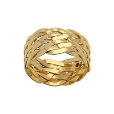 Bague plaqué or anneau tressé large