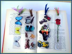 bookmarks made with stickers and contact paper