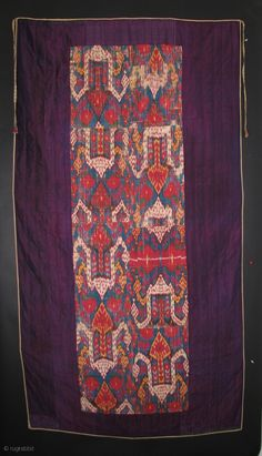"TR 34 Central Asian Ikat, Silk/Cotton, 79.5 x 43 inches, Inner panel is 69 x 21 inches  This is identical to the piece illustrated on page 89 in the large Goldman Collection ""Ikat""  ..."