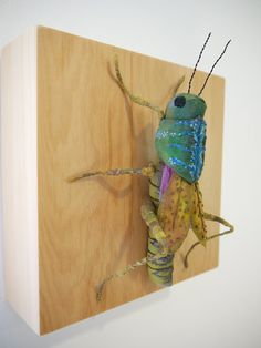 Fabric sculpture Grasshopper textile art by irohandbags on Etsy