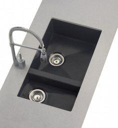 fregadero de cocina sinttico fabricado con cuarzo y resinas de una cubeta y media de radio mnimo y para montaje bajo encimera en un mueble a partir de