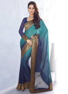 Mesmerizing indigo blue and turquoise green jacquard saree, from Sareeka
