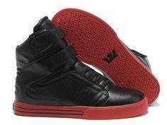 2e55bb23b97d Supra TK Society Men Shoes Black Red Leather Mens High Tops