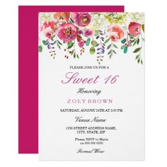 #floral - #Spring Flowers Pink Peach Sweet 16 Invitation