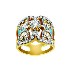 """Bright Dreams AN-222. 18kt yellow gold ring with """"plique-à-jour"""" fired enamel and diamonds."""