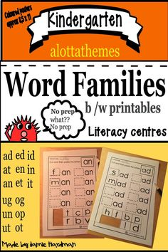 This package will encourage growth for students as readers, writers, and spellers as you use these worksheets. They make great morning work, literacy centers. This package is a great hands on lesson plan that will be enjoyed by all! Language Activities, Reading Activities, Motor Activities, Literacy Stations, Literacy Centers, Kindergarten Learning, Preschool, Cvc Word Families, Early Childhood Activities