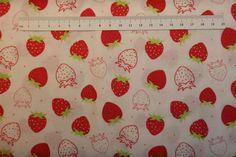 Mini Frugt på patchworkstof - Jordbær - er er meget flot hvidt stof med mini røde jordbær