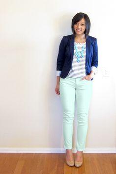 mint skinny, striped tee, blue blazer