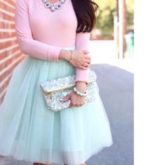 CUSTOM BEAUTIFUL MINT TULLE SKIRT! Tulle Skirt is Lined & has 5 Layers. Skirts