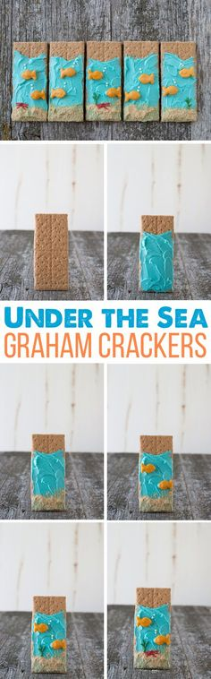 Under the Sea Graham Crackers - easy to make and perfect for an under-the-sea theme or party. Under The Sea Crafts, Under The Sea Theme, Under The Sea Party, Vbs Crafts, Camping Crafts, Camping Theme, Camping Snacks, Edible Crafts, Sand Crafts