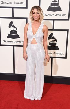 Kaley Cuoco in a Naeem Khan jumpsuit, Rauwolf clutch, and H.Stern jewelry at 2016 Grammy's
