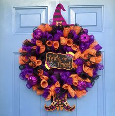 I& looking forward to sharing this item from my # etsy shop: Front door wreath, Halloween wreath . Halloween Door Wreaths, Halloween Deco Mesh, Wreaths For Front Door, Halloween Entryway, Halloween Crafts, Halloween Decorations, Deco Mesh Crafts, Wreath Crafts, Deco Mesh Wreaths