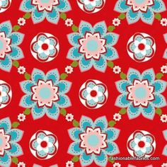 Sugar and Spice Sugar Blooms in Red by Riley Blake  for my laundry room curtain and blind