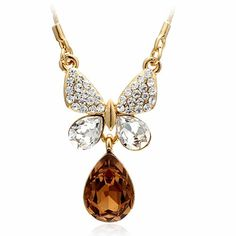 Women Gold Champagne Zircon Butterfly Fashion Jewelry Choker Necklace SKU-10802456