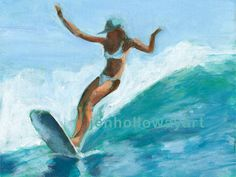 Surf Girl Art Surf Girl Painting Surfer Girl by jenhollowayart