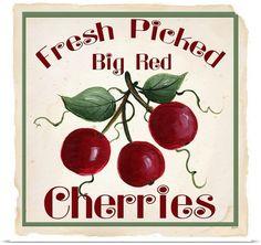 Kathy Hatch Poster Print Wall Art Print entitled Cherries, None Wall Art Prints, Framed Prints, Canvas Prints, Big Canvas, Cherry Kitchen Decor, Cherry Crush, Cherry Baby, Cherry Cherry, Cherry Tree