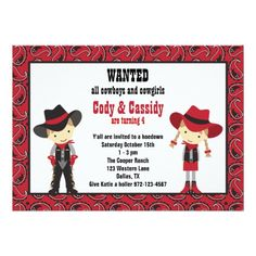 Twins Birthday Party Invitations Cowboy and Cowgirl Birthday Invitations