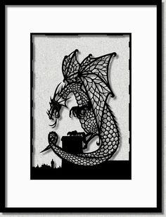 Papercut Art, A4   Fantasy Dragon   Original Black & White Fantasy Art   Papercut Art   Unique Papercut Silhouette   Papercut Illustration