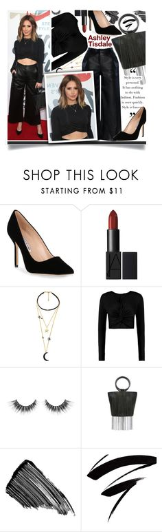"""Ashley Tisdale - monochrome black"" by anne-mclayne-andreea-miclaus ❤ liked on Polyvore featuring Manolo Blahnik, WithChic, Boohoo, GALA, Whiting & Davis, Stephane Rolland, Sisley and Bobbi Brown Cosmetics"