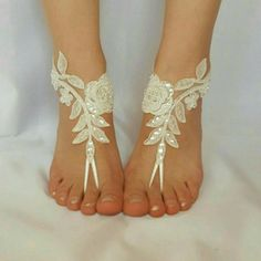 ivory beaded scaly beach wedding barefoot sandals free ship sexy feet shoes anklet bellydance steampunk beach pool barefeet country wedding